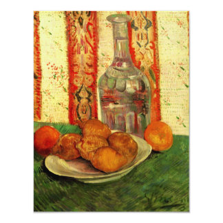 Van Gogh Decanter Lemons Plate, Vintage Still Life Card