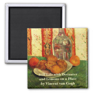 Van Gogh Decanter Lemons Plate, Vintage Still Life Square Magnet