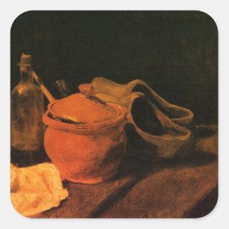 Van Gogh Earthenware Bottle Clogs Vintage Art Square Sticker
