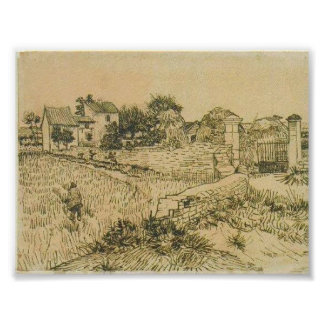Van Gogh - Entrance Gate to a Farm with Haystacks Poster