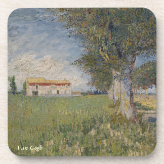 Van Gogh Farm house wheat field Drink Coaster