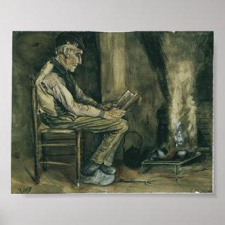 Van Gogh - Farmer sitting at the fireside, reading Poster
