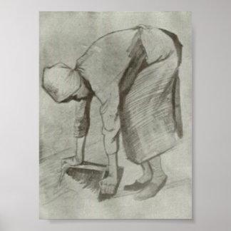 Van Gogh - femme de recourbement Affiches