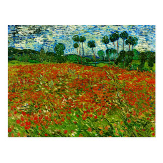 Van Gogh Field with Poppies (F636) Fine Art Postcard