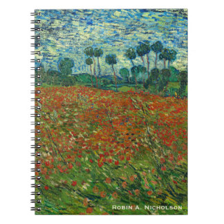 Van Gogh Field with Poppies Personalized Notebook