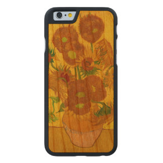 Van Gogh Fifteen Sunflowers In A Vase Fine Art Carved Cherry iPhone 6 Case