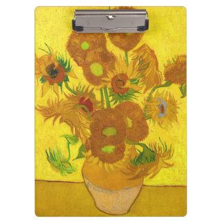 Van Gogh Fifteen Sunflowers In A Vase Fine Art Clipboard