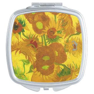 Van Gogh Fifteen Sunflowers In A Vase Fine Art Compact Mirror