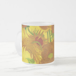 Van Gogh Fifteen Sunflowers In A Vase Fine Art Frosted Glass Coffee Mug