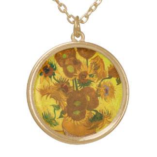 Van Gogh Fifteen Sunflowers In A Vase Fine Art Gold Plated Necklace