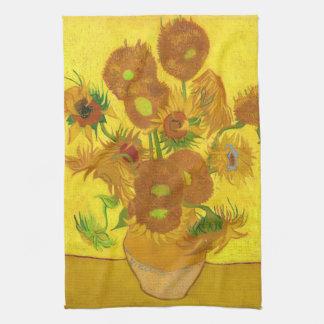 Van Gogh Fifteen Sunflowers In A Vase Fine Art Kitchen Towel