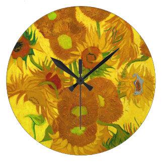 Van Gogh Fifteen Sunflowers In A Vase Fine Art Large Clock