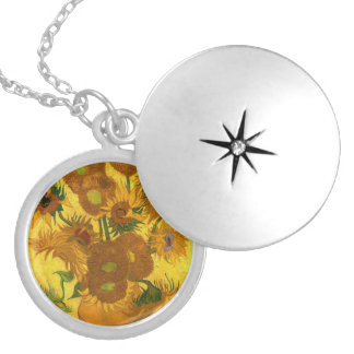 Van Gogh Fifteen Sunflowers In A Vase Fine Art Locket Necklace