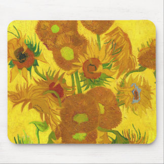 Van Gogh Fifteen Sunflowers In A Vase Fine Art Mouse Pad
