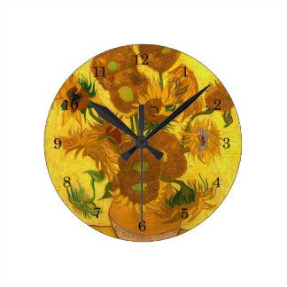 Van Gogh Fifteen Sunflowers In A Vase Fine Art Round Clock