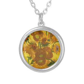 Van Gogh Fifteen Sunflowers In A Vase Fine Art Silver Plated Necklace