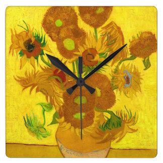 Van Gogh Fifteen Sunflowers In A Vase Fine Art Square Wall Clock
