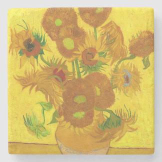 Van Gogh Fifteen Sunflowers In A Vase Fine Art Stone Beverage Coaster