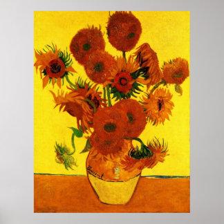 Van Gogh Fine Art, Vase with 15 Sunflowers Poster