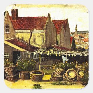 Van Gogh Fish Drying Barn, Vintage Fine Art Square Sticker