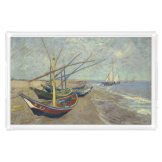 Van Gogh Fishing boats beach France Saintes Marie Acrylic Tray