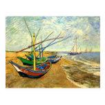 Van Gogh Fishing Boats on Beach at Saintes Maries Post Cards