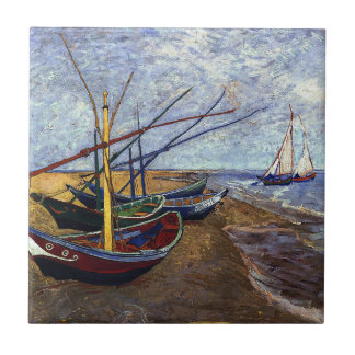Van Gogh Fishing Boats on Beach Tile