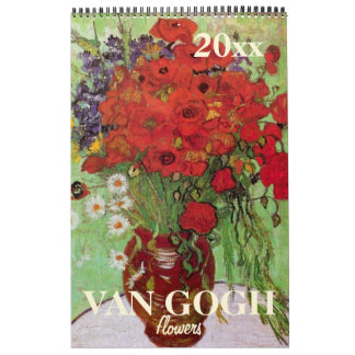 Van Gogh Flowers with Irises, Sunflowers, Poppies Calendar