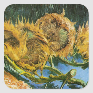 Van Gogh Four Cut Sunflowers, Vintage Fine Art Square Sticker