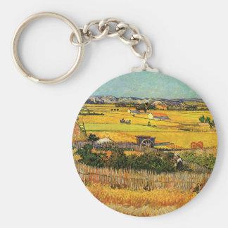 Van Gogh Harvest La Crau, Montmajour, Fine Art Basic Round Button Keychain