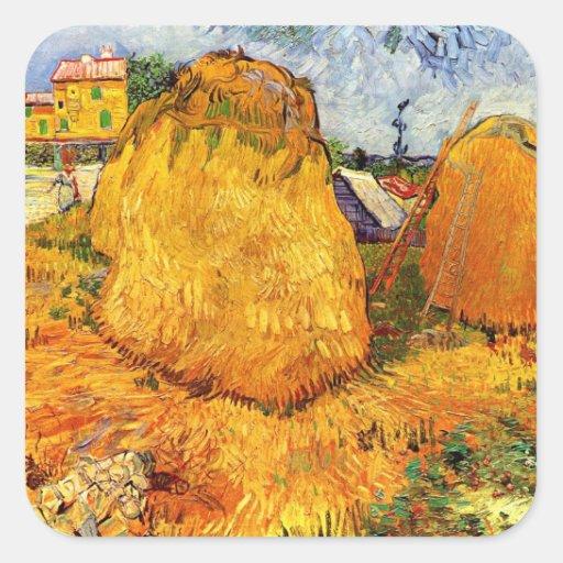 Van Gogh; Haystacks in Provence, Vintage Farm Square Sticker