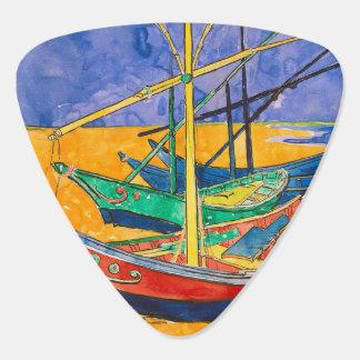 Van Gogh Impressionist Boats Guitar Pick
