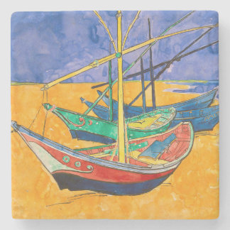 Van Gogh Impressionist Boats Stone Coaster