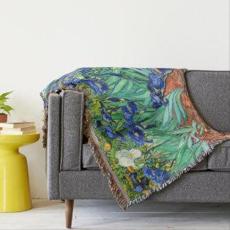 Van Gogh Irises Iris Flowers Garden Throw Blanket