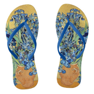 Van Gogh Irises Vase Yellow Background Flowers Art Flip Flops