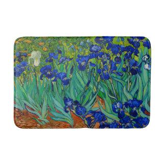 Van Gogh Irises Vintage Floral Blue Bath Mat