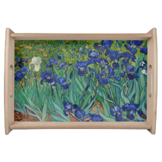 Van Gogh Irises Vintage Floral Blue Serving Tray