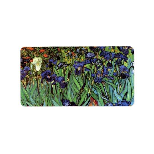 Van Gogh Irises, Vintage Garden Fine Art Label
