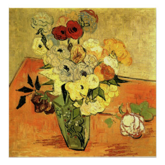 Van Gogh - Japanese Vase with Roses and Anemones Poster