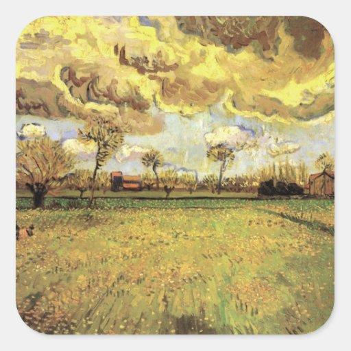 Van Gogh; Landscape Under Stormy Sky, Vintage Farm Square Stickers