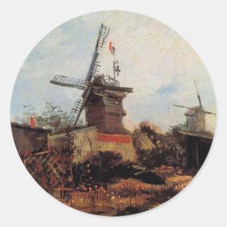 Van Gogh; Le Moulin de Blute Fin (Windmill) Classic Round Sticker