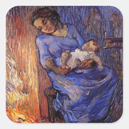 Van Gogh, Man is at Sea, Vintage Impressionism Art Square Sticker