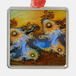 Van Gogh Mandelbrot Fractal Silver-Colored Square Ornament