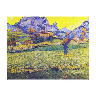 van Gogh Meadow and Tree Overlooking Meadow Canvas Print
