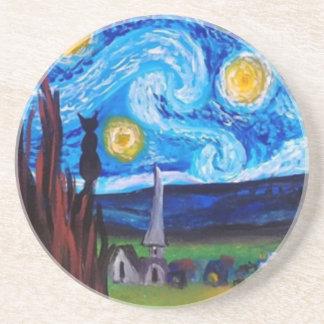 Van Gogh Meow Beverage Coaster