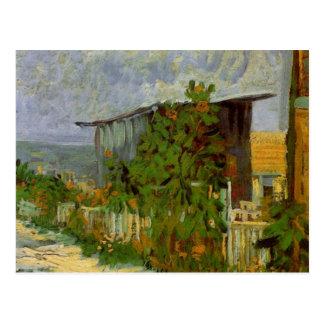 Van Gogh Montmartre Path with Sunflowers, Fine Art Postcard
