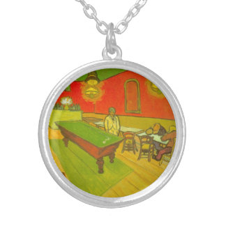 Van Gogh; Night Cafe, Vintage Impressionism Art Round Pendant Necklace