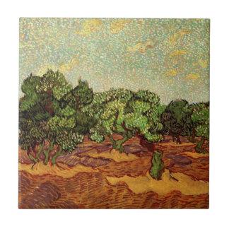 Van Gogh Olive Grove Pale Blue Sky, Fine Art Ceramic Tile