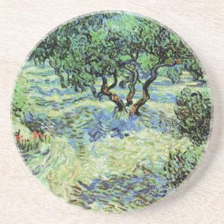 Van Gogh Olive Grove, Vintage Post Impressionism Beverage Coaster