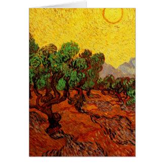 Van Gogh Olive Trees with Yellow Sky Sun, Fine Art Card